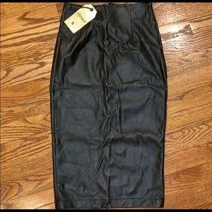 Dresses & Skirts - Faux Leather Black Midi Skirt